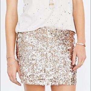 NWT Love Sadie Rose Gold Sequin Skirt